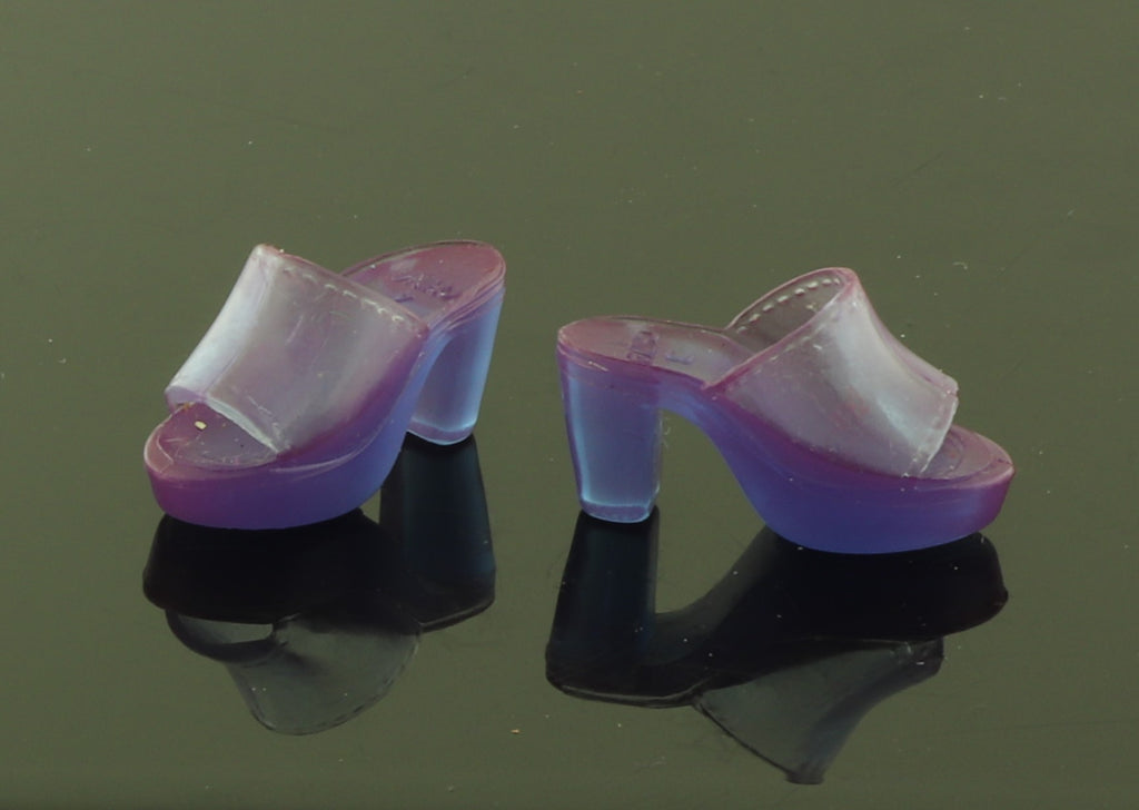 Barbie Shoes -- Translucent Purple Chunky Peep Toe Mules Clogs