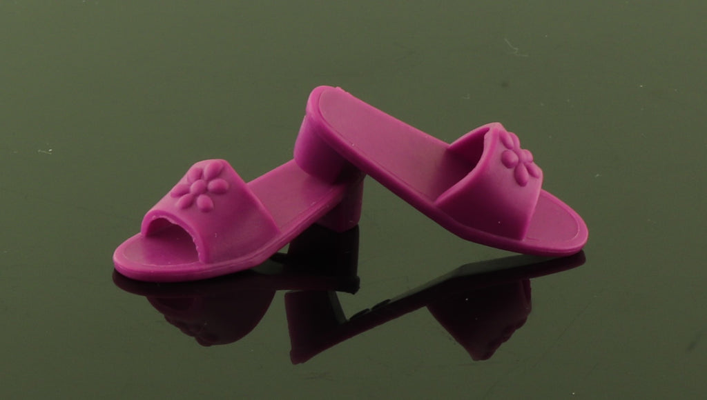 Flat Footed Barbie Shoes -- Magenta Purple Flip Flops Clogs Mules Fit Liv