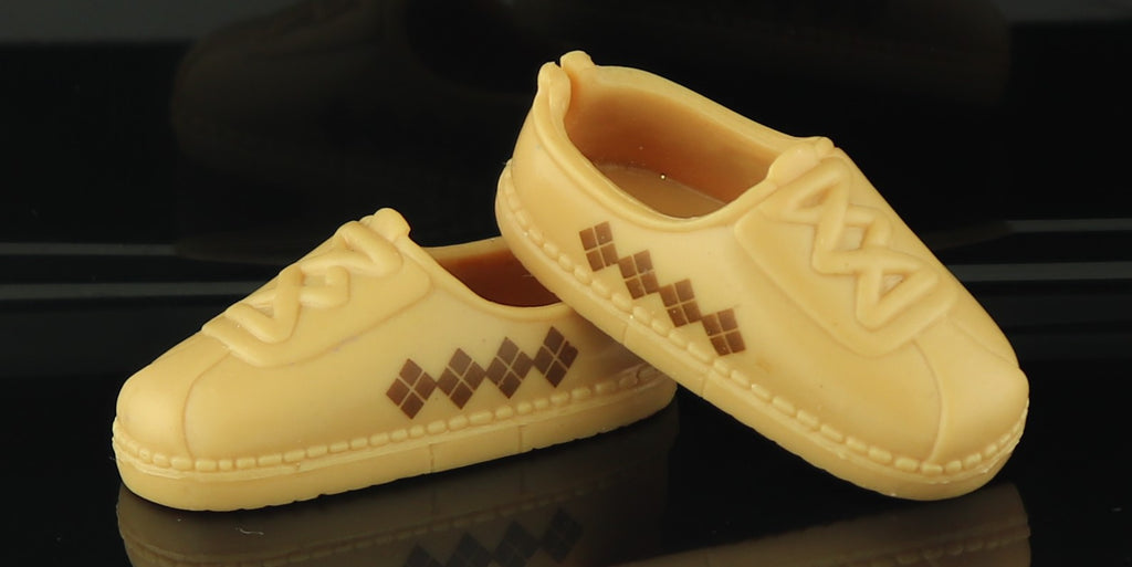 Ken Doll Shoes -- Modern Brown Loafers W/ Diamond Design