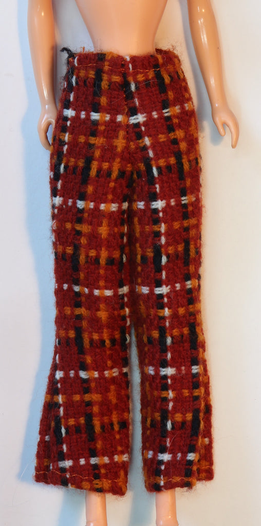 Vintage Ken or Barbie Size Retro Brown Plaid Pants