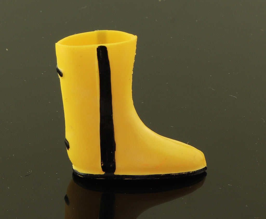 Peteena Poodle SINGLE Shoe -- Black Yellow Rain Boot Slicker Set