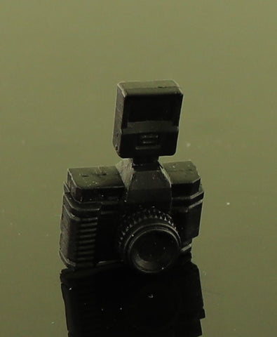 "Mystery Item -- Black Plastic Vintage Camera W/ Attached ""Flash"""