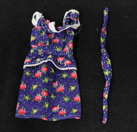 Best Buy Barbie # 7204 Blue Floral Print Dress W/ Head Band TLC
