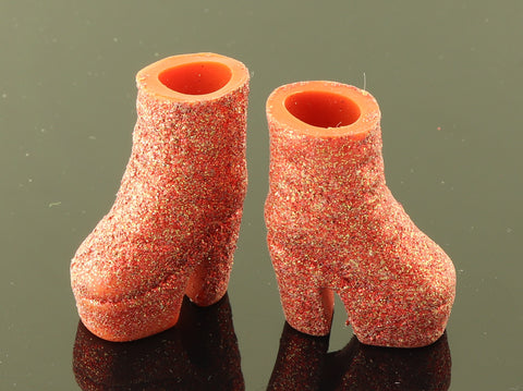 Galoob Spice Girls Shoes -- Glittery Orange Platform Ankle Boots Fit Barbie