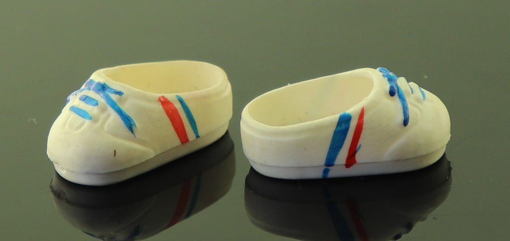Mystery Doll Shoes -- White Sneakers W Red & Blue Stripes