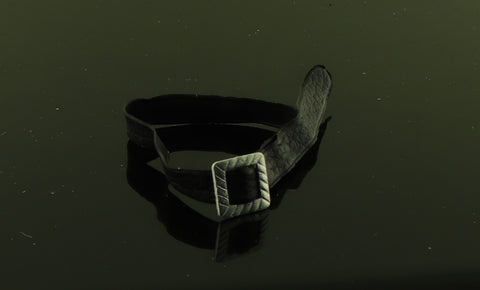 Mystery Item -- Black Belt W/ Square Silver Buckle
