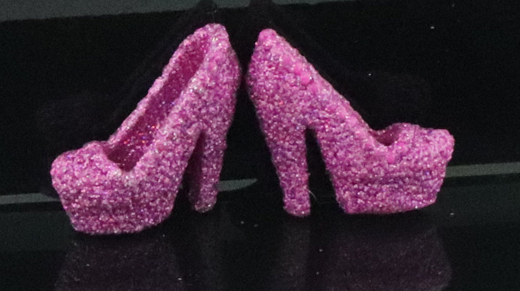 Barbie Size Shoes -- Glittery Purple High Heel Pumps W/ Rubs