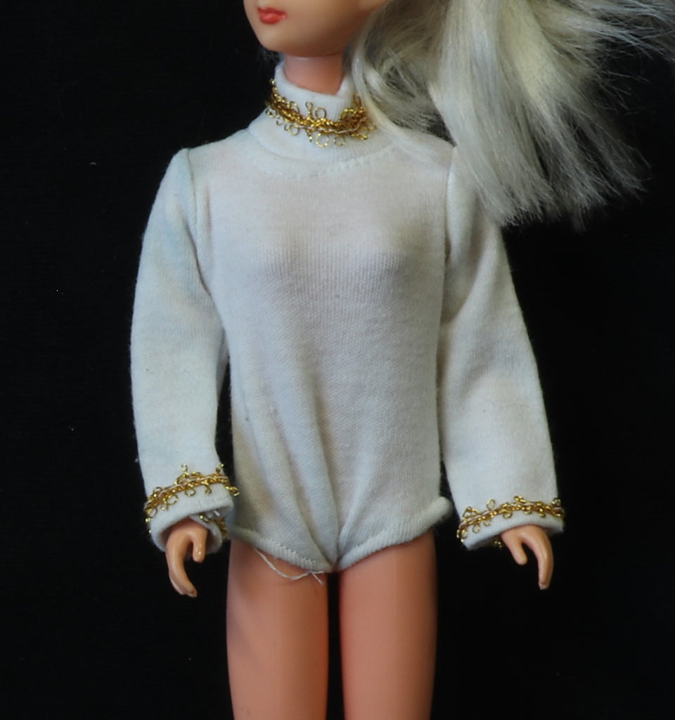 Mystery Item -- White Leotard/Body Suit W/ Gold Trim