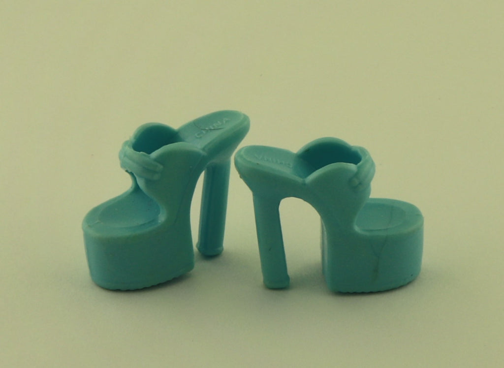 Barbie Shoes -- Pearly Pearlescent Fancy Blue High Heel Platform Mules