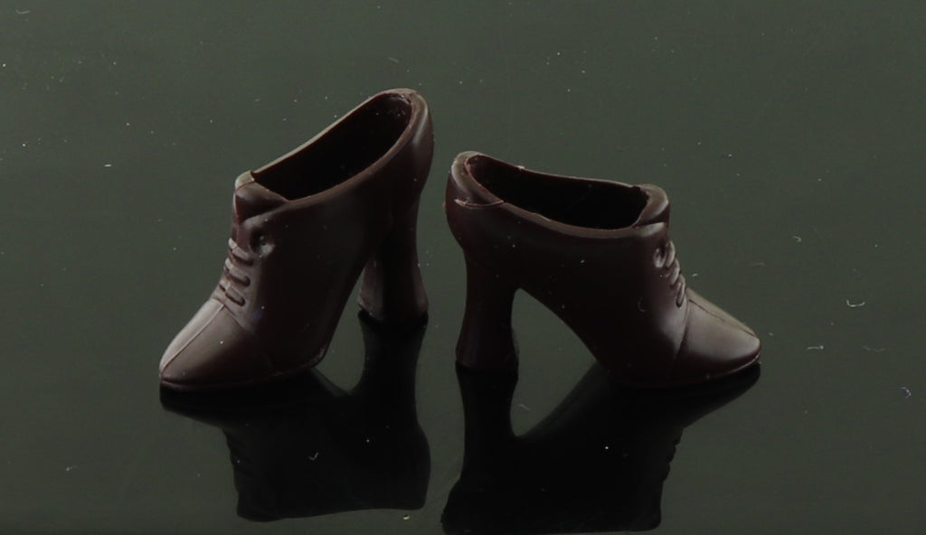 Barbie Shoes -- Very Dark Brown Victorian Style Ankle Boots