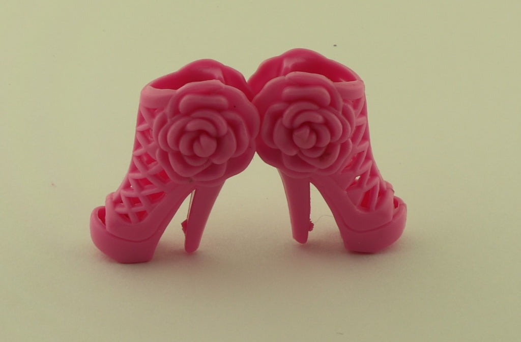 Barbie Size Shoes -- Rose Pink High Heel Sandals W/ Rosettes
