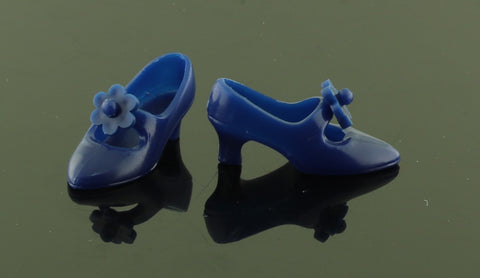 Barbie Shoes -- Navy Blue Mary Janes W/ Spinner Flowers