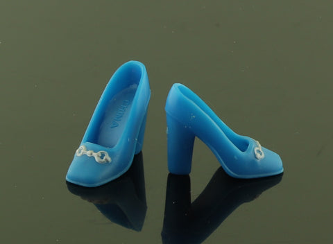 Barbie Shoes -- Blue Square Toe Pumps W/ Silver Buckles