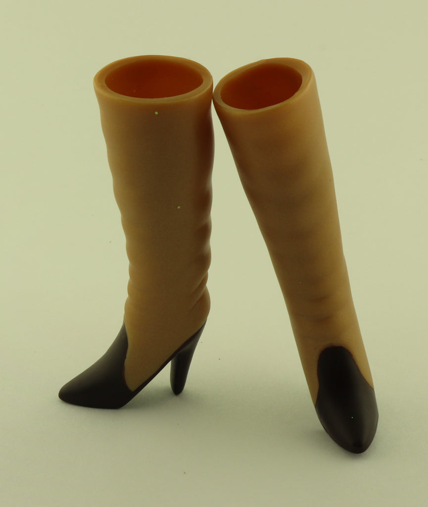 Barbie Shoes -- Tan and Dark Brown High Heel Tall Boots