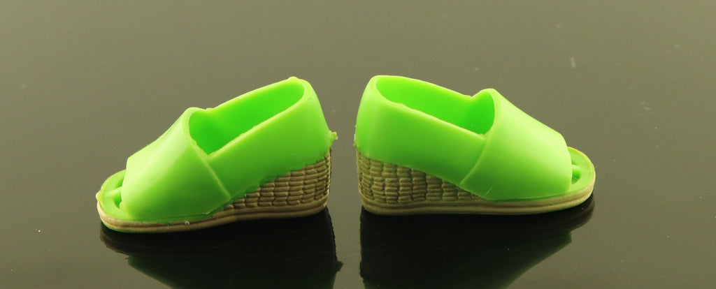 Kenner Bionic Woman Shoes -- Green Party Pants Wedges