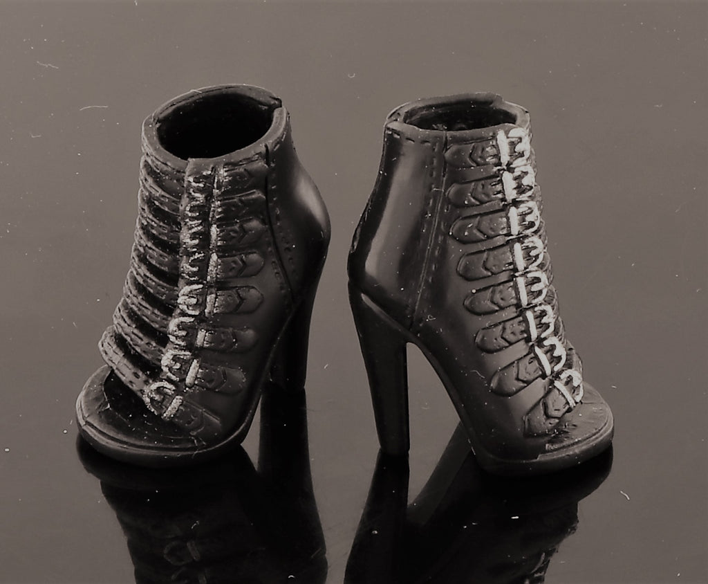 Mystery Doll Shoes -- Black Buckle Up Goth Shoes W/ Stiletto Heels