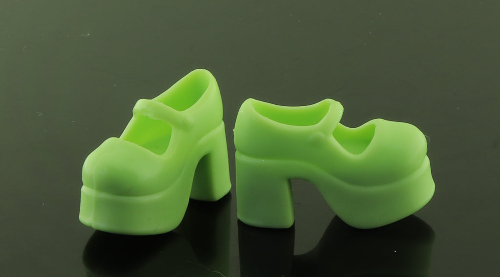 Barbie/Skipper Shoes -- Mint Green PLatform Mary Janes Blythe