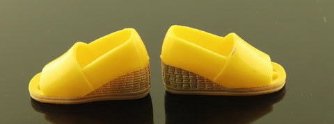 "Kenner Bionic Woman Shoes -- Yellow Wedges for ""Country Comfort"" Outfit"
