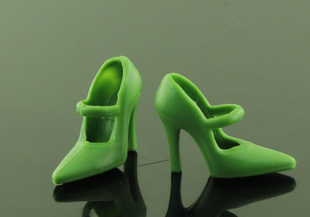 Barbie Shoes -- Dark Olive Green Stiletto High Heel Mary Jane Pumps