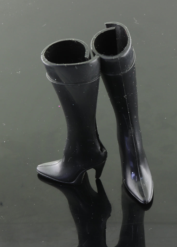 Barbie Shoes -- Tall Black Stilletto Spike Heel Boots