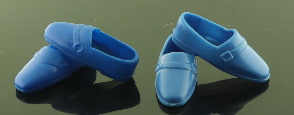 Ken Doll Shoes -- Two Pair Blue Buckle Loafers, Korea/Hong Kong
