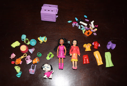 Lot of Polly Pocket Dolls, Pet, Carrier, Clothes