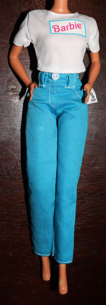 Barbie Clothes -- Bright Blue Jeans and White T-Shirt