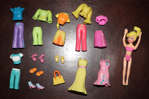 Polly Pocket Lot -- Dresses, Pants, Tops, Shoes, Purse, Doll