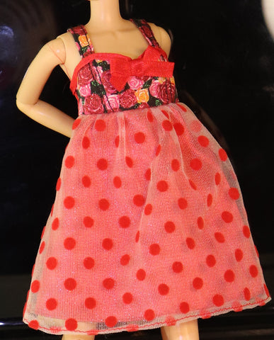 Barbie Size Clothes -- Red Polka Dot Babydoll Dress W/ Rose Print