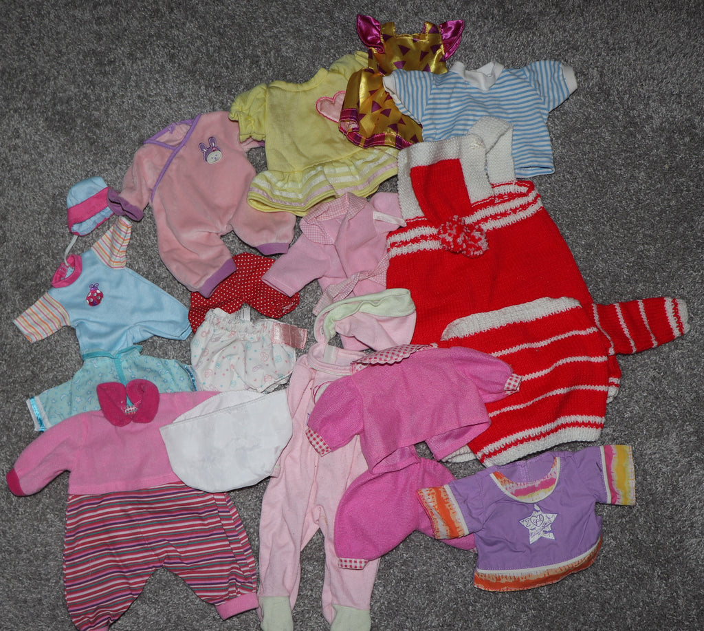 Babydoll or Bear Clothes -- Assorted Lot of Rompers, Dresses, Diapers, Etc