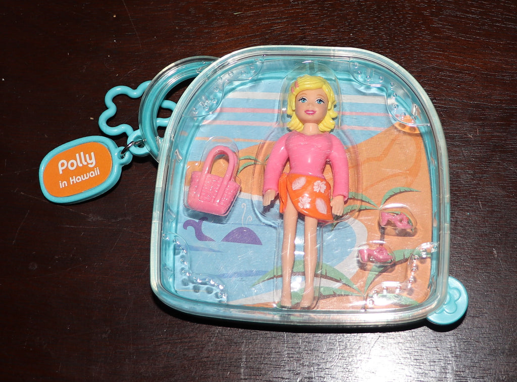 NIB Polly Pocket In Hawaii Plastic Case Doll Shoes Purse HTF