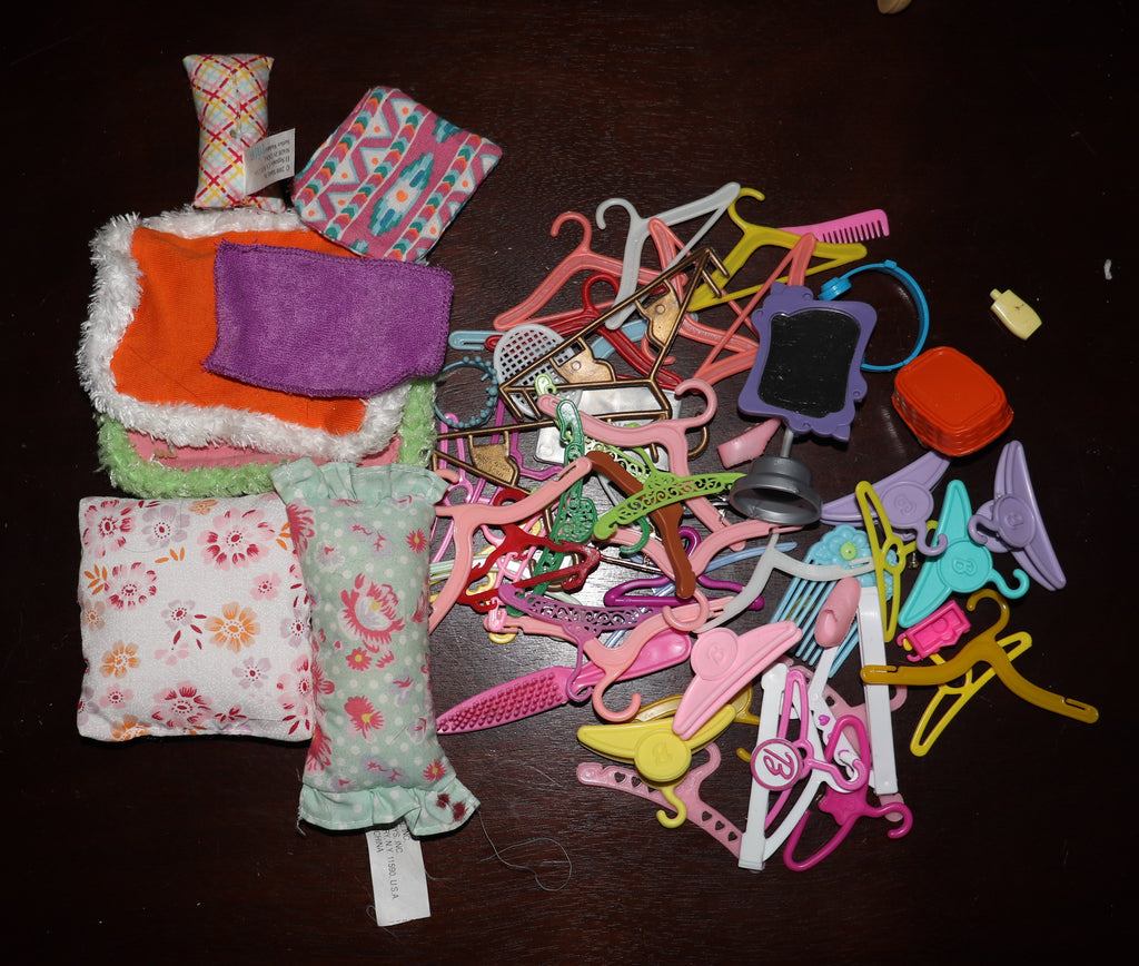 Lot of Barbie Size Hangars, Pillows, Rugs, Shoes, Etc.