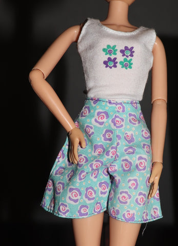 Barbie Clothes -- White Top & Floral Print Green & Purple Skirt