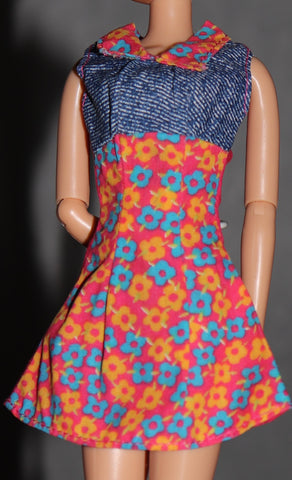 Barbie Clothes -- Orange & Faux Denim Floral Print Mini Dress