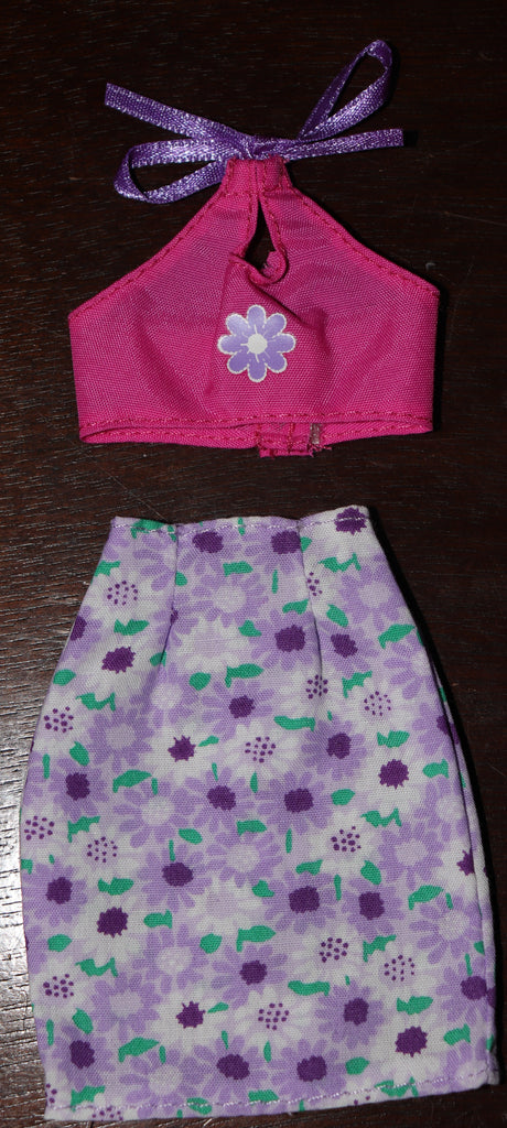 Barbie Clothes -- Purple Floral Print Skirt & Pink Halter Top