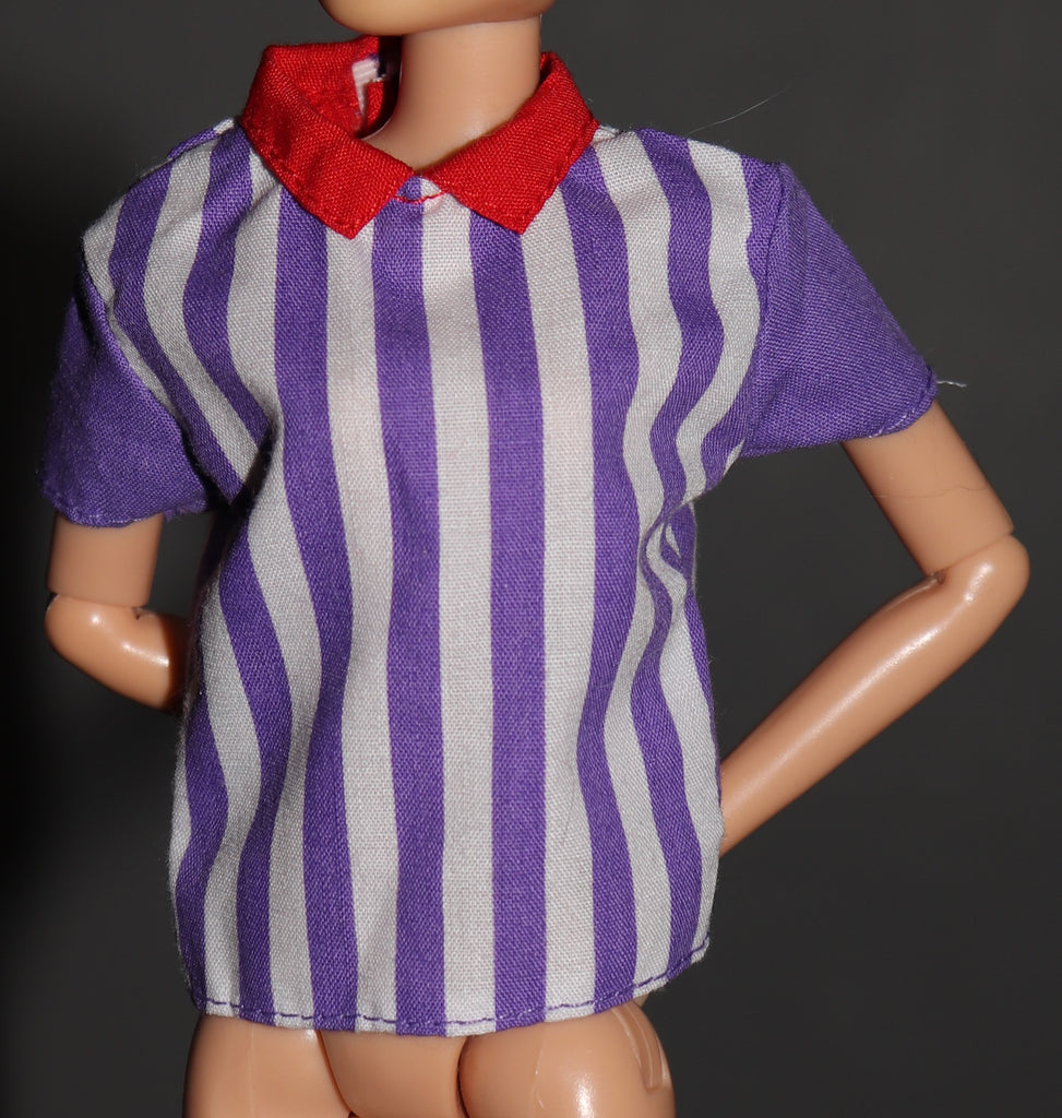 Barbie Clothes -- Purple White Striped Shirt