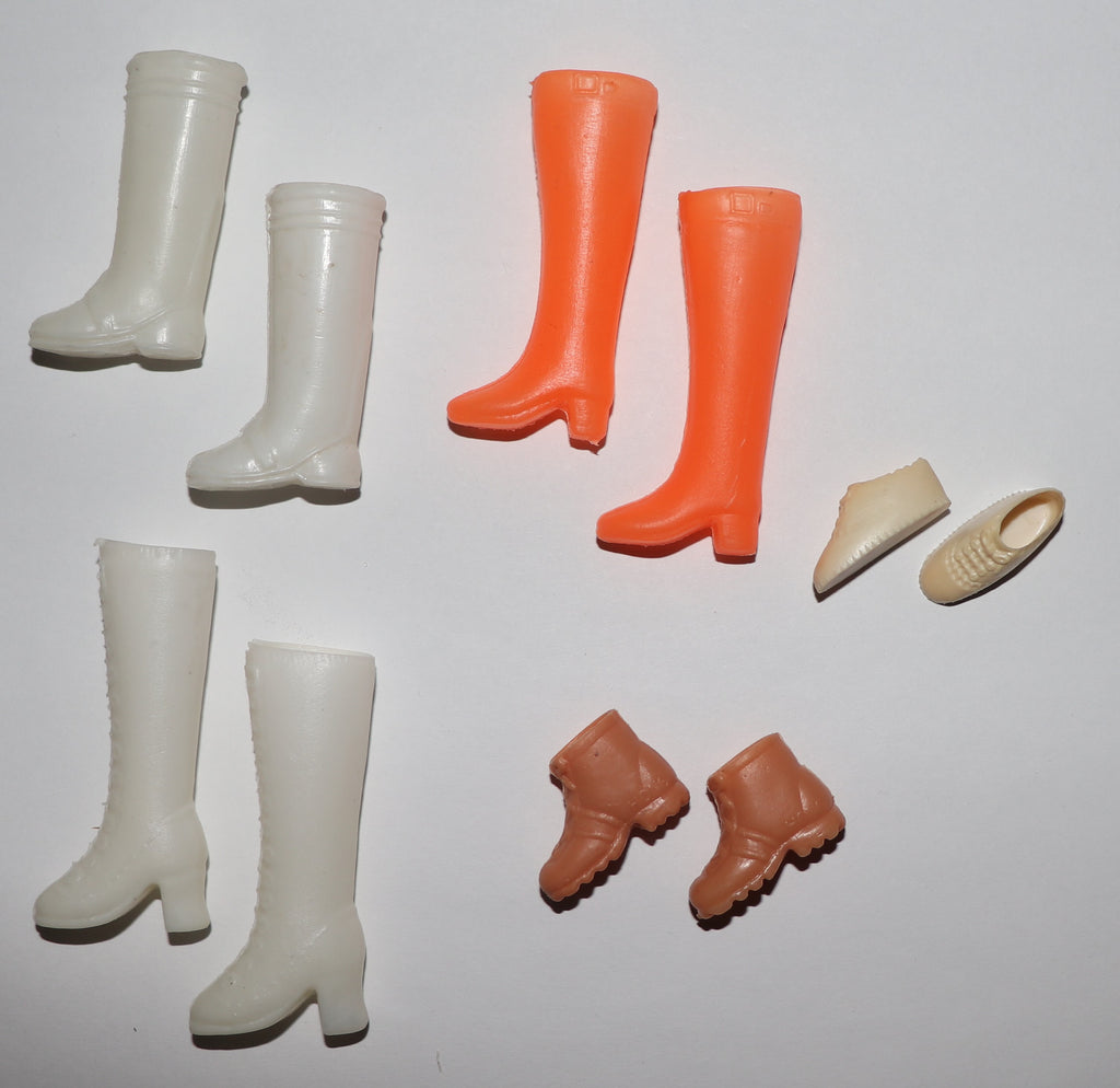 Lot of White, Orange, and Brown Boots Clone and Sneakers For Barbie