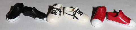Lot of 3 Pair Ken Doll Size Shoes Barbie Family Sneakers Loafers