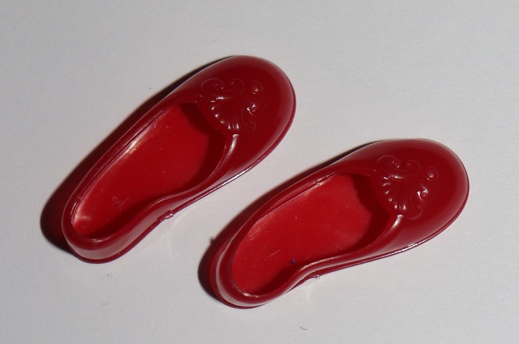 Red Ballet Flats Toe Shoes for 1990s Flat Footed Barbie or Spectra