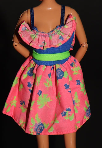 Barbie Clothes -- Blue, Pink & Green Mini Dress W/ Ruffles