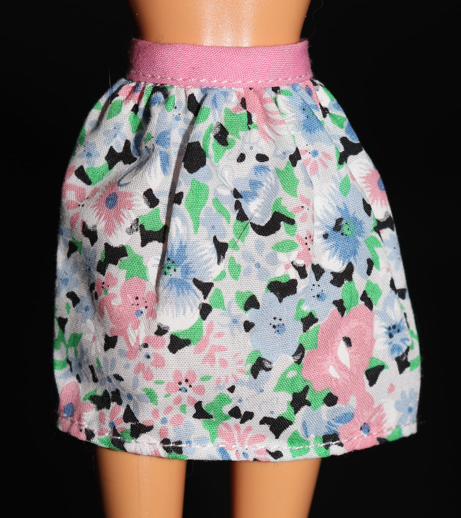 Barbie Clothes -- Pink & Blue & Green Floral Print Skirt VGC