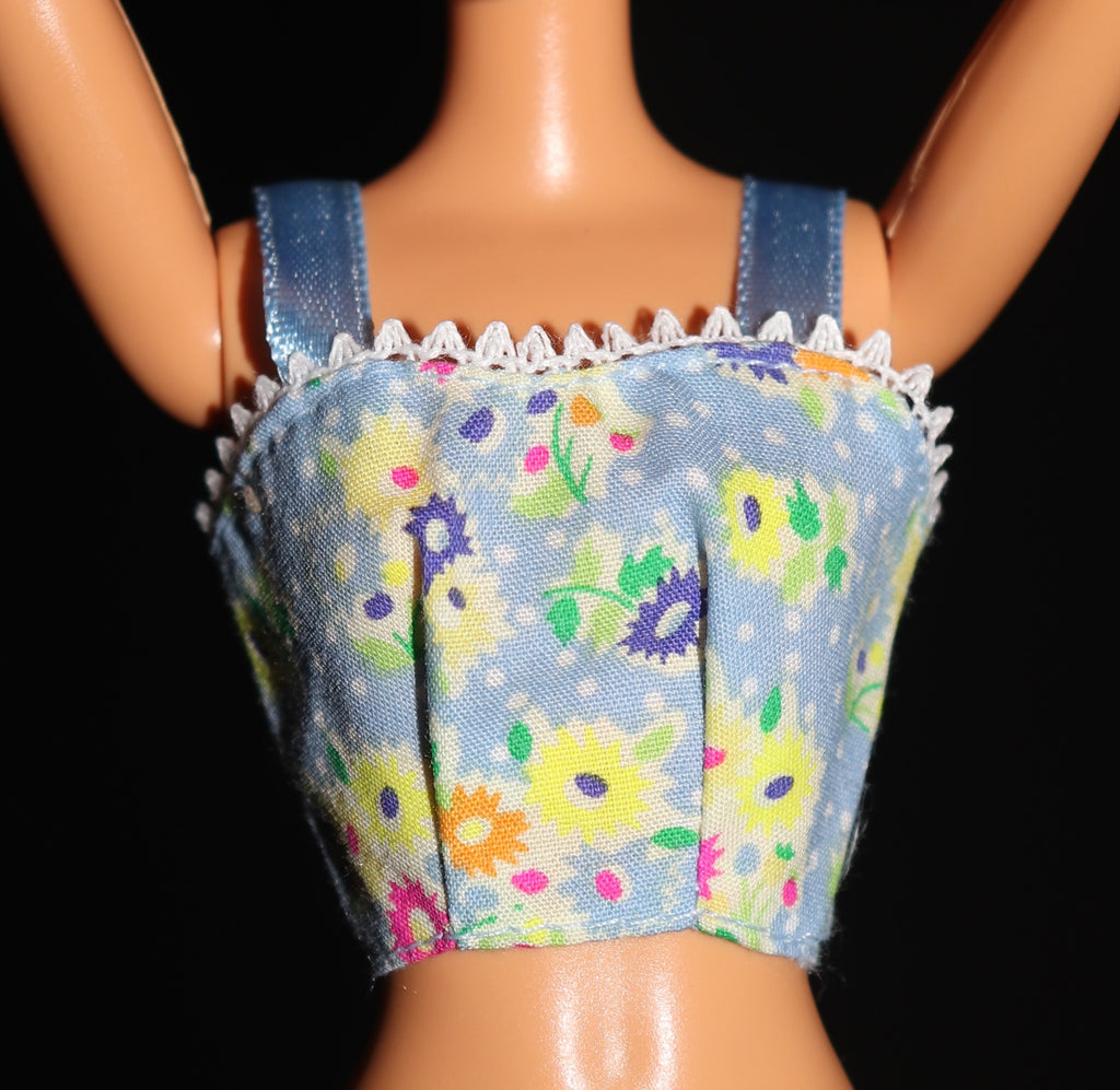 Barbie Size Clothes -- Blue Crop Top W/ Yellow Flowers