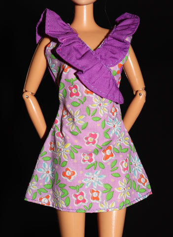 Barbie Clothes -- Purple Mini Dress W/ Ruffles, Flowers, VGC!