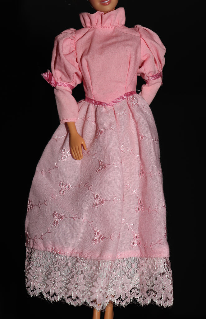 Barbie Size Clothes -- Long Pink Dress W/ Lace Trim, Nice Quality!