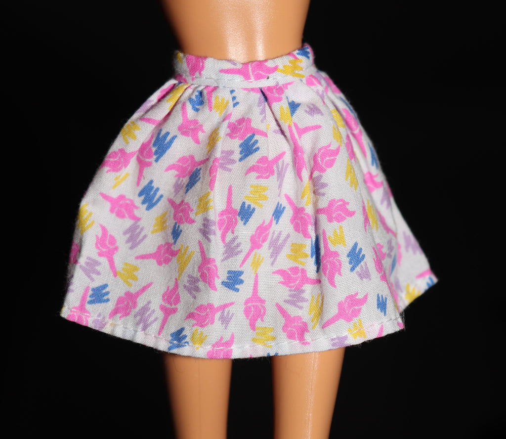 Barbie Clothes -- White Skirt W/ Pink Torches
