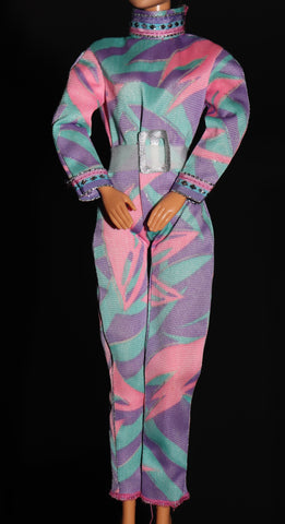 Barbie Size Clothes -- Pastel Teal Pink Purple Jump Suit Jumpsuit