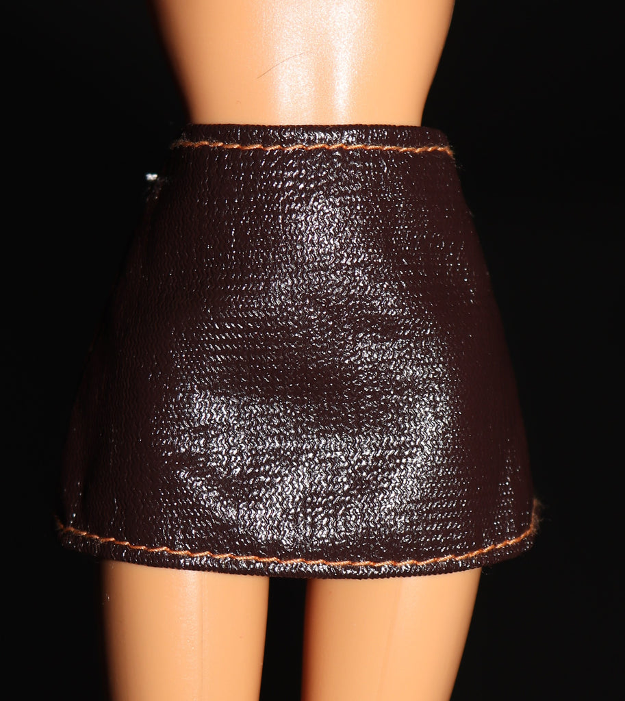 Barbie Clothes -- Dark Brown Faux Leather Micro Mini Skirt