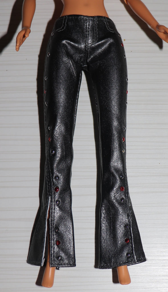 Barbie Size Clothes -- Charcoal Grey Faux Leather Pants W/ Sequins