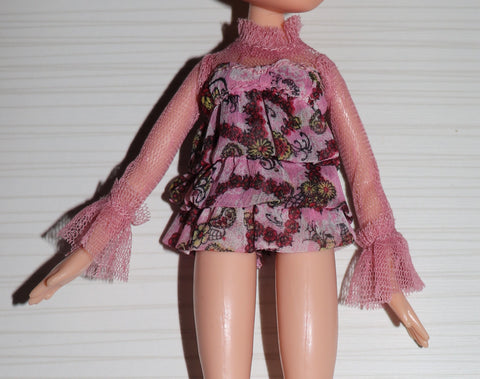 Bratz Sized Clothes -- Tiered Pink Daisy Print Top W/ Sheer Long Sleeves