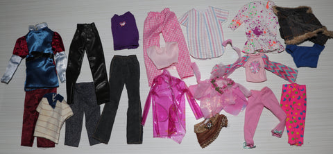 Barbie & Friends TLC/PLay Lot of Clothes Rain Coat Skirts Jeans Etc.